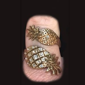 Jewelry - Pineapple Open Adjustable Gold Crystal Ring